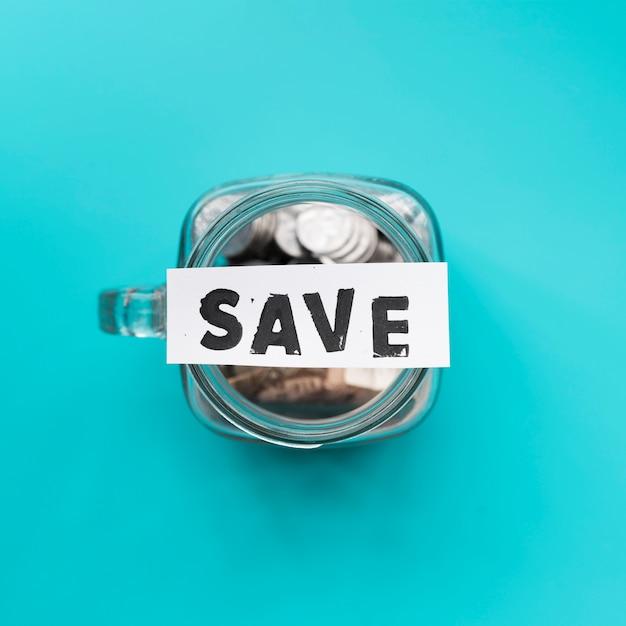 Top view jar for savings Free Photo