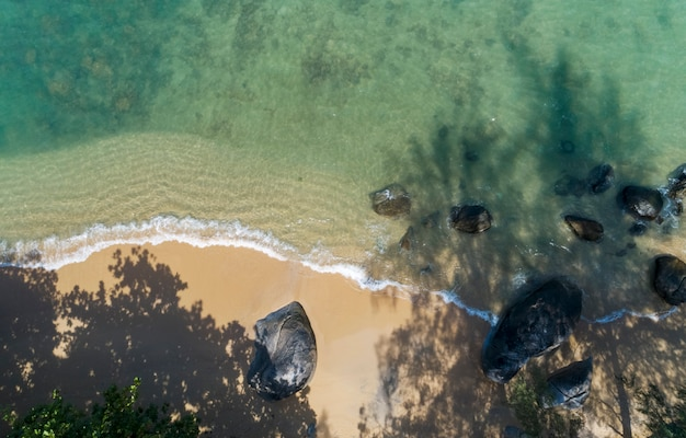Top view landscape of beautiful tropical sea in summer season image by aerial view drone shot Premium Photo
