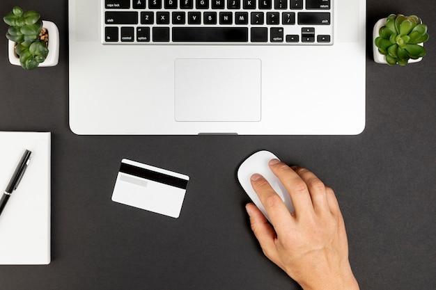 Succulente per laptop vista dall'alto e carta di credito Foto Gratuite