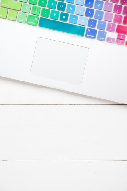 Top view of laptop with colorful keyboard Free Photo