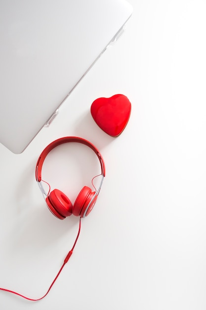 Top view of laptop with heart Photo   Free Download