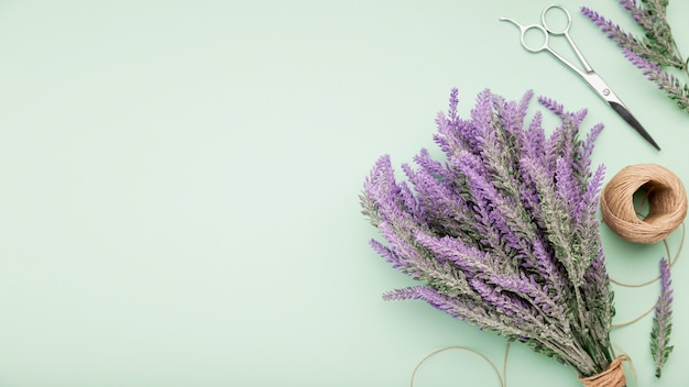 Top view lavender bouquet with copy-space Free Photo