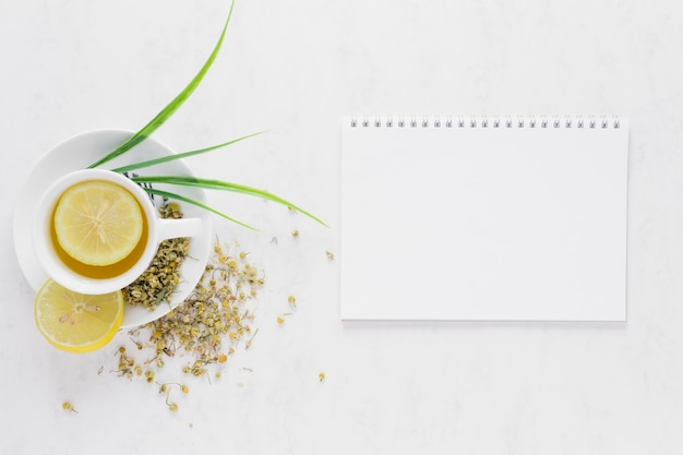 Top view of lemon tea with notebook Free Photo