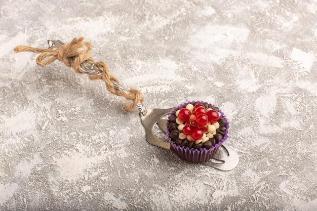 明るい背景のケーキビスケット甘い焼き生地にクランベリーと小さなチョコレートブラウニーのトップビュー 無料写真