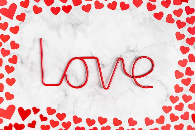 Top view love decoration with hearts Free Photo