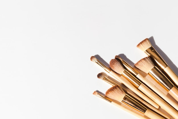 Top view make up brushes Free Photo