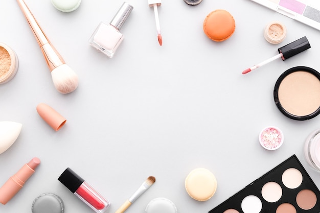 Top view make up frame Free Photo