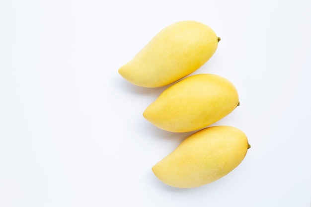 Top view of mango, tropical fruit  juicy and sweet. Premium Photo