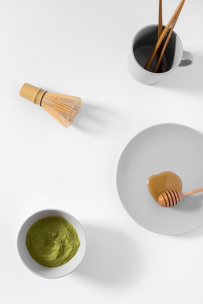 Top view matcha tea concept on the table Free Photo