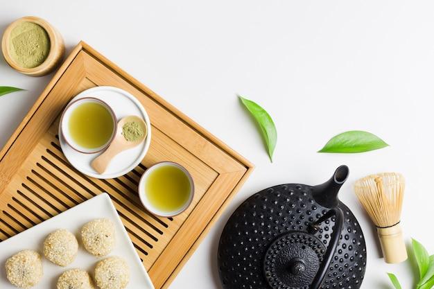 Top view of matcha tea preparation Free Photo