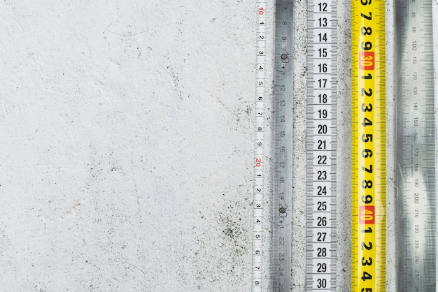 Top viewmeasuring tapes with copy space Free Photo