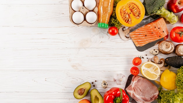Top view of meats with vegetables and copy space Premium Photo