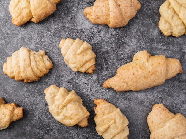 Top view mixture of croissants on the table Free Photo