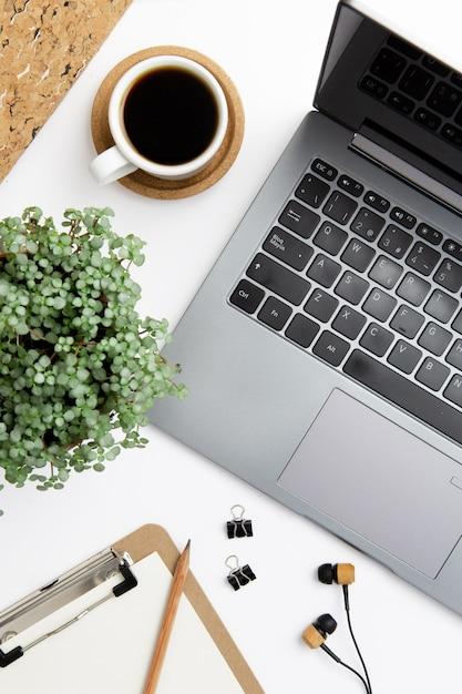Top view modern workplace arrangement Premium Photo