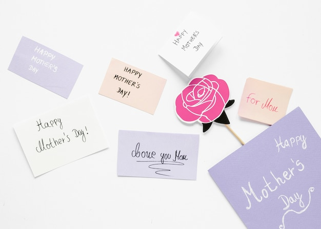Top view mother's day cards arrangement Free Photo