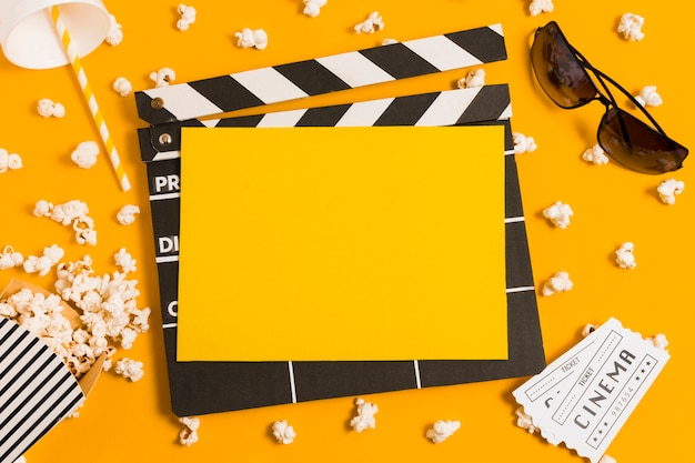 Top view movie slate for cinema films Free Photo
