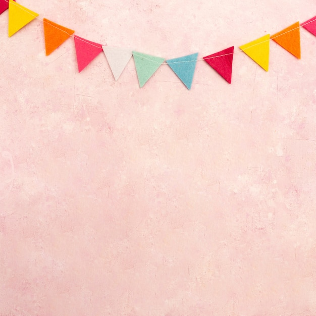 Top view of multicolored garland with copy space Free Photo