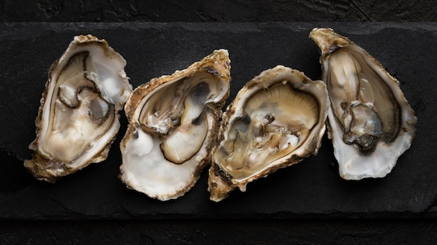 Top view of mussels on slate Premium Photo