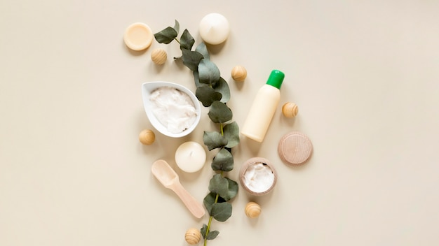 Top view of natural cosmetics concept Premium Photo