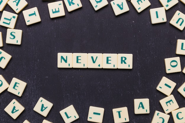 Top view of never text with scrabble letters over black backdrop Free Photo