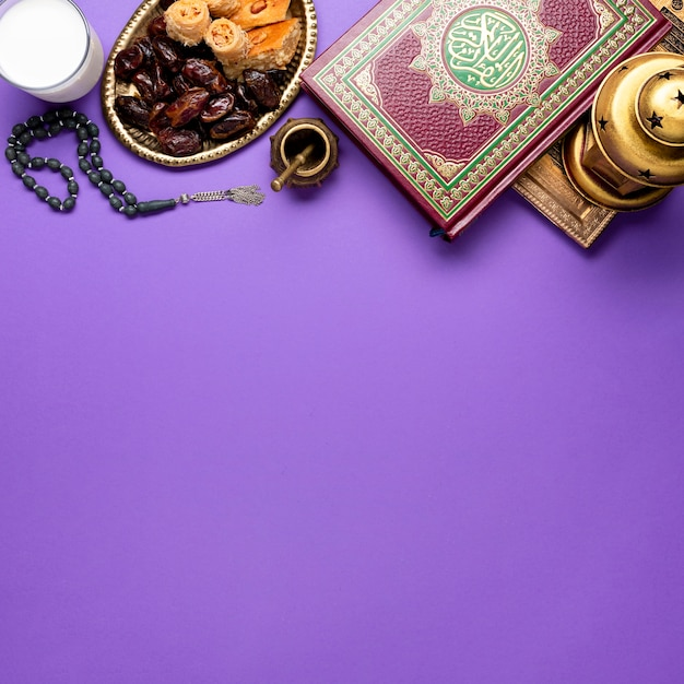 Top view new year islamic arrangement Free Photo