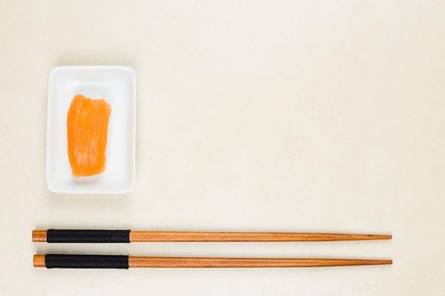 Top view of nigiri salmon Free Photo