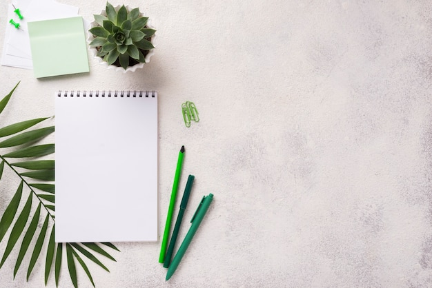 Top view of notebook on desk with succulent plant and leaves Free Photo
