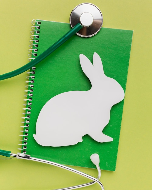 Top view of notebook with paper bunny and stethoscope for animal day Free Photo
