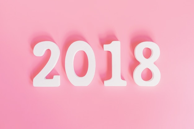Top View Number Of 2018 For New Year On Pink Pastel Color