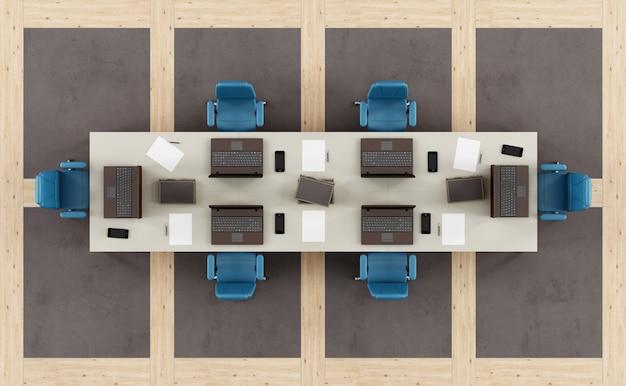会議テーブル付きのモダンな会議室の平面図 Premium写真