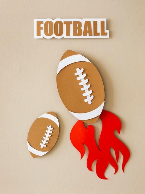 炎のあるアメリカンフットボールの上面図 無料写真