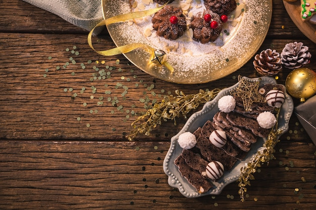 Top View Of Appetizing Christmas Cake Photo Free Download