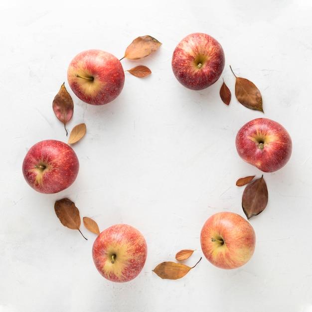 사과와 단풍의 상위 뷰 프리미엄 사진