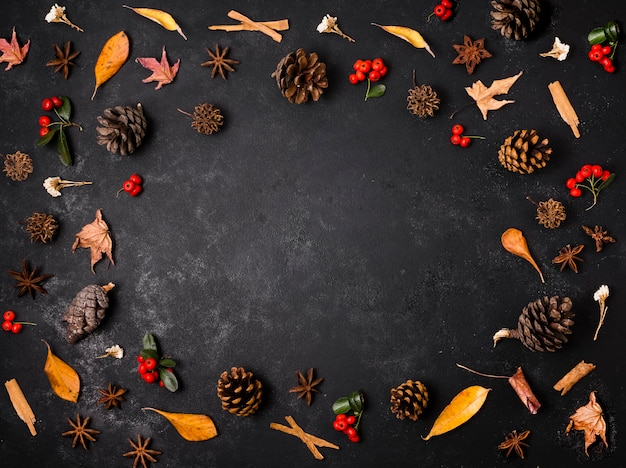 松ぼっくりと葉を持つ秋の要素のトップビュー 無料写真