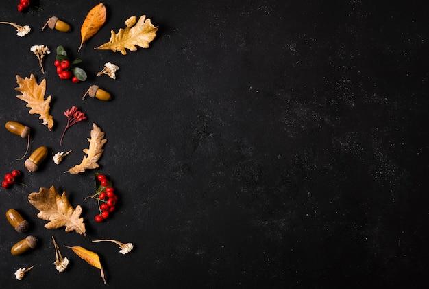 Вид сверху осенних листьев с желудями и копией пространства Бесплатные Фотографии
