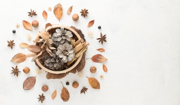 Вид сверху осенних листьев с шишками и копией пространства Premium Фотографии