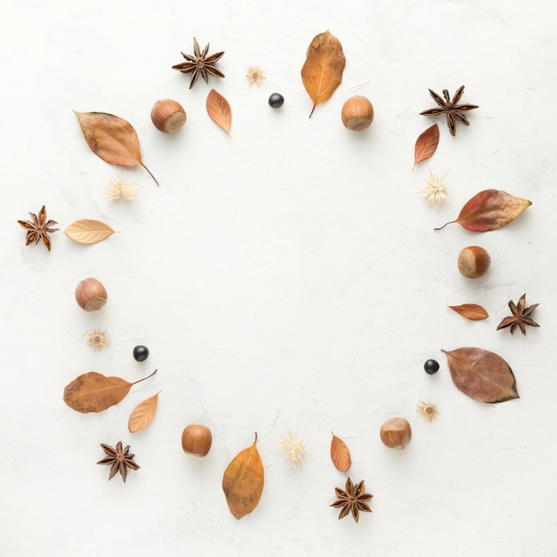 Вид сверху осенних листьев с звездчатым анисом и каштанами Бесплатные Фотографии