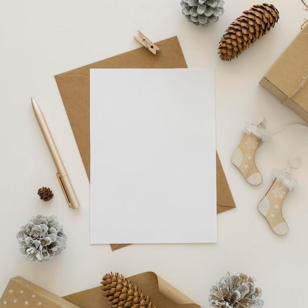 美しいクリスマスの概念の上面図 Premium写真