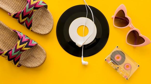Вид сверху красивой музыкальной концепции Бесплатные Фотографии