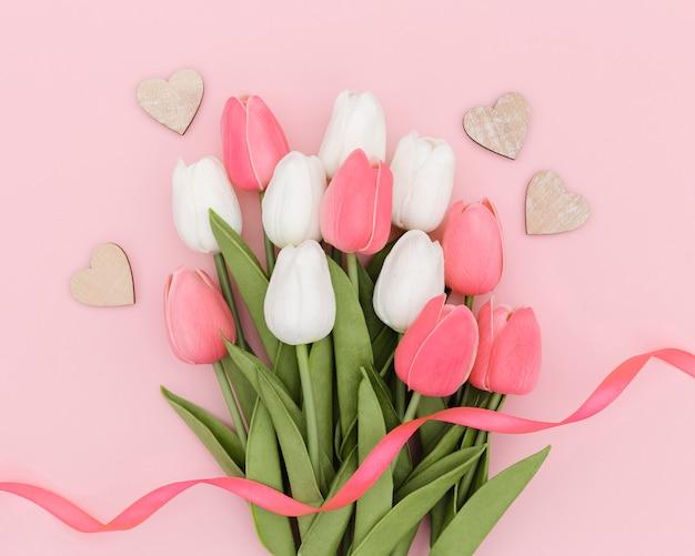 Вид сверху букет красивых тюльпанов Бесплатные Фотографии