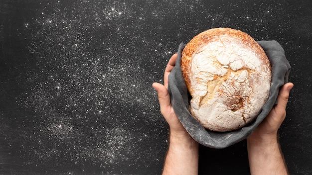 コピースペースとパンのコンセプトのトップビュー 無料写真