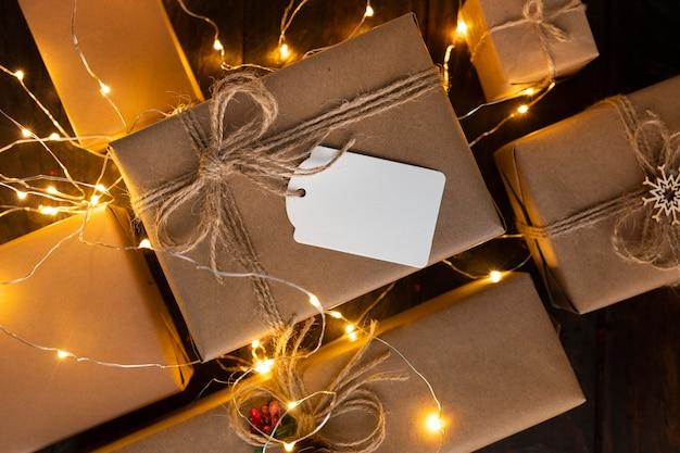 コピースペースとクリスマスコンセプトの上面図 無料写真