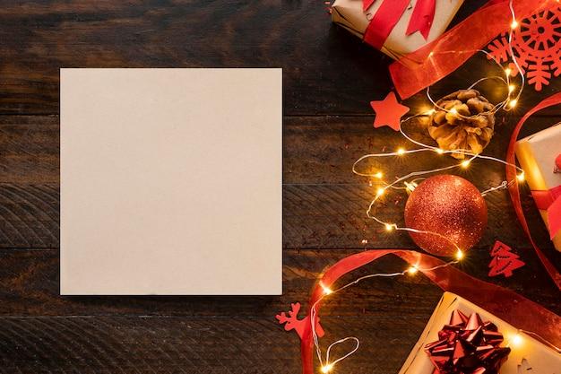 복사 공간 크리스마스 개념의 상위 뷰 프리미엄 사진