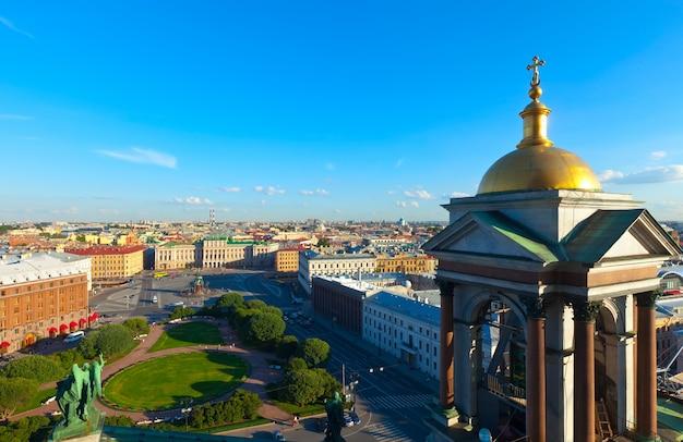 聖イサク大聖堂からの市のトップビュー 無料写真