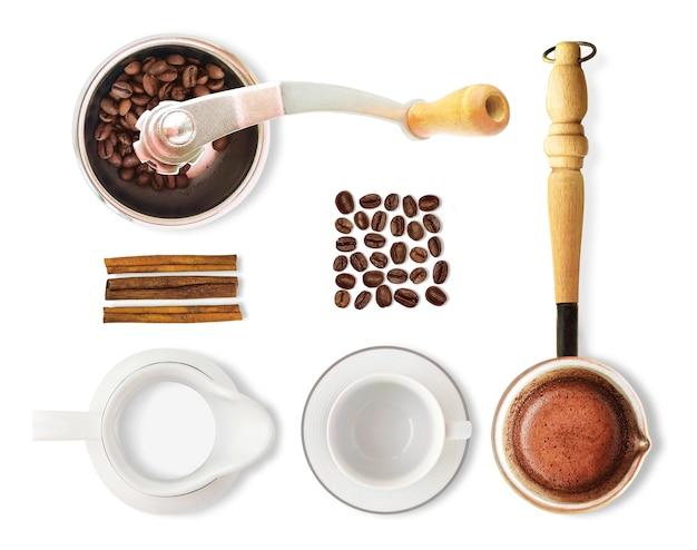 Вид сверху кофе, изолированные на белом фоне. набор кофейных зерен, чашка, молоко, кофемолка и т. д. Premium Фотографии