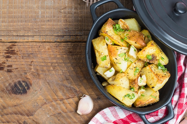 Top view of cooked potatoes in a pot Free Photo