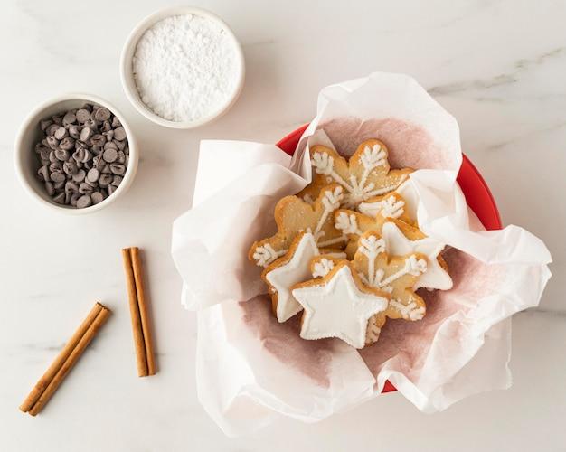 Вид сверху концепции расположения печенья Бесплатные Фотографии