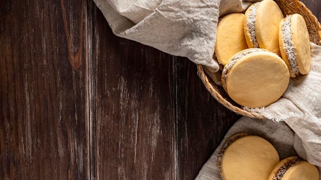 おいしいアルファジョレスクッキーの上面図 無料写真