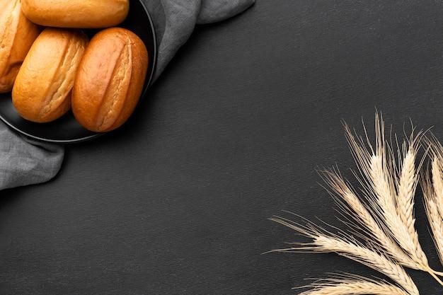 Вид сверху концепции вкусных хлебных булочек Бесплатные Фотографии