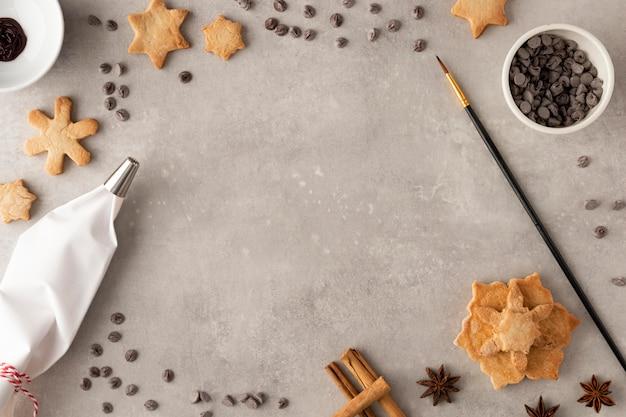 Вид сверху вкусного печенья с копией пространства Premium Фотографии